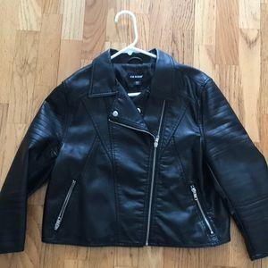 Black cropped moto jacket
